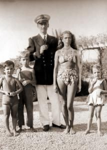 Jacques Cousteau and family including Jean-Michel Cousteau who continued his father's legacy.
