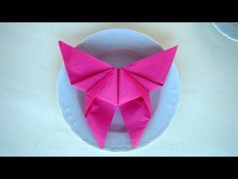 Doblar servilletas de papel para mesa: Doblar servilletas en forma de mariposa - YouTube