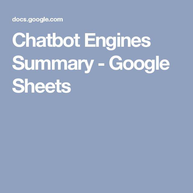 Chatbot Engines Summary - Google Sheets