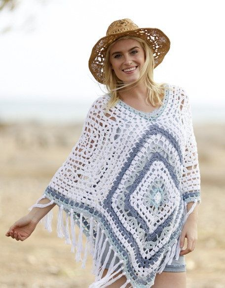 Bohemian Blues - Summer Boho Gipsy Poncho for Women - by HappyWoollies on Etsy