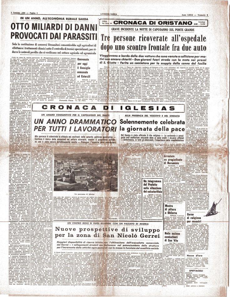 L'UNIONE SARDA - edizione del 3 gennaio 1968 pag.6 n.2 - Mostra collettiva di pittura a Ghilarza - Maestro Paolo Salvati.