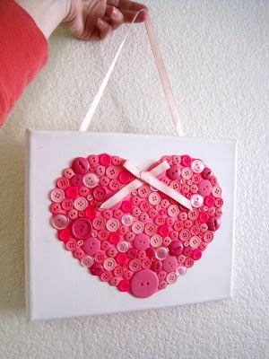 Canvas Button Heart. Great gift idea!