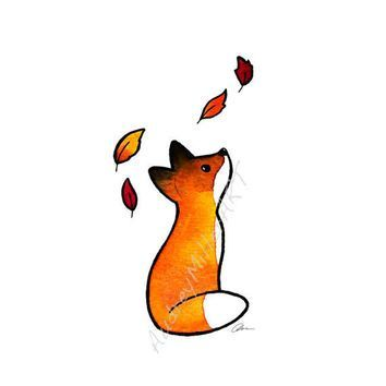 The Fox and The Leaves 5×7 Print – #5×7 #Fox #Leaves #print