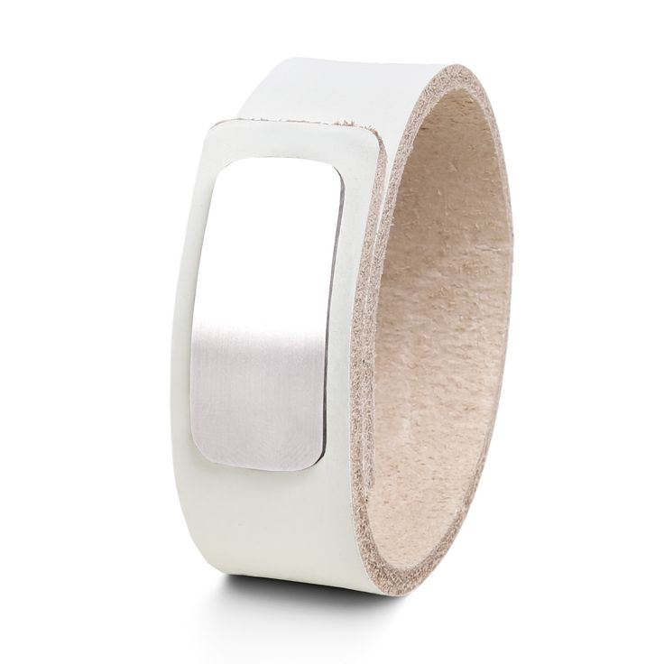 Wear Clint - Tuigleren armband (25mm / wit) met RVS-sluiting. Een stoer design voor mannen en vrouwen!