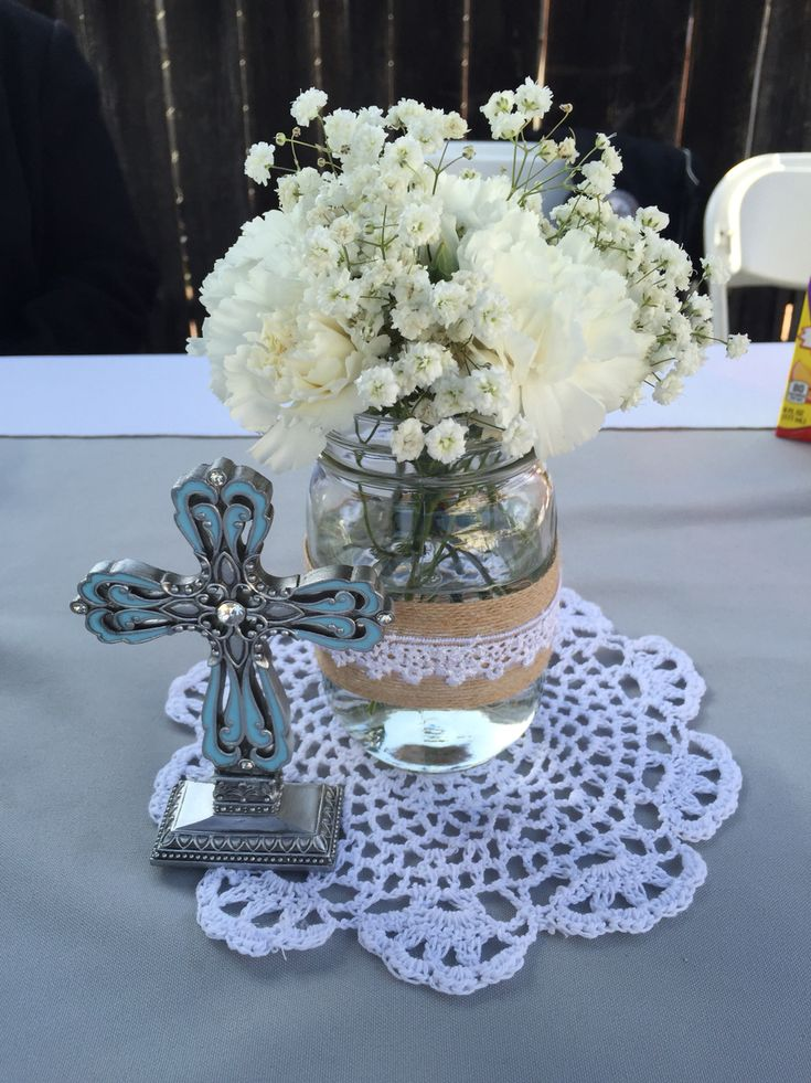 My sons first holy communion centerpieces.