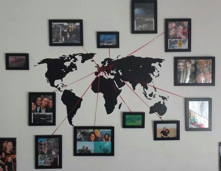 Eine tolle Idee seine Reise-Erinnerung in der Wohnung an die Wand zu bringen! - Mit einer Landkarten Fotowand