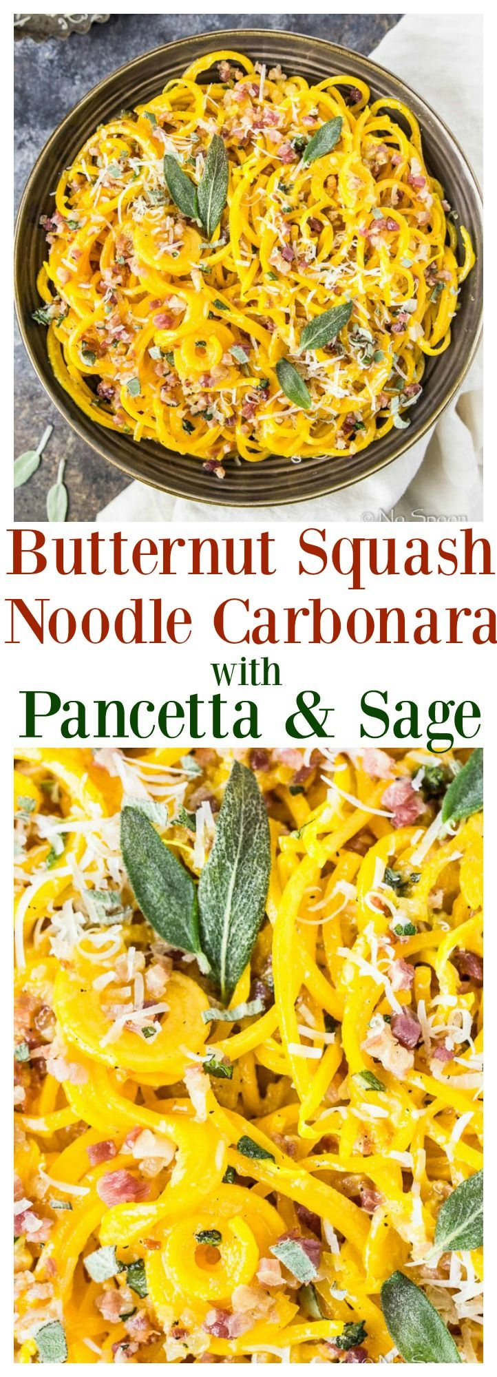 Butternut Squash Noodles coated in a rich, creamy, cheesy Carbonara sauce and tossed with Pancetta & Sage