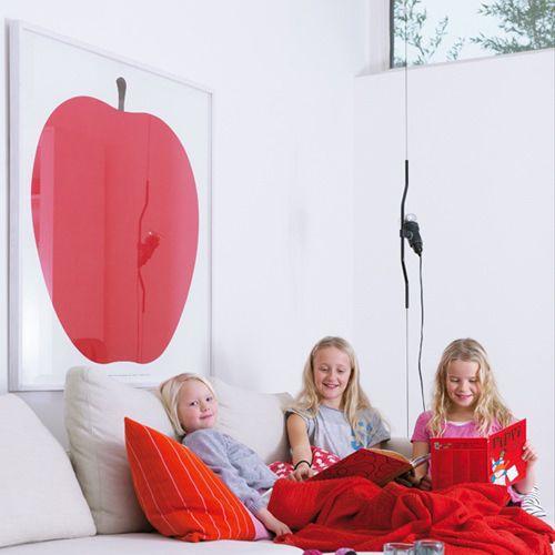 La Mela by Enzo Mari: Giant Red Apple Modern Art Poster