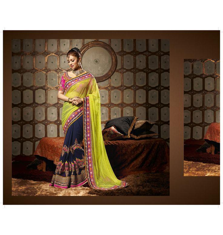 Designer Sarees :: Half & Half Saree With Tikli on Pallu and colorful big motifs on skirt with Blue & Pink border to glorify the beauty of Saree