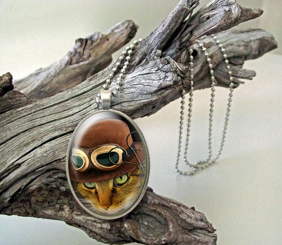 Cat pilot steampunk style glass cab pendant with by ArtiFartiGifts