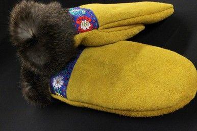 Women's Light Moose Hide And Dark Rabbit Fur Mitts By Elsie Beaver. #Kitigan…