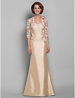 Lanting Bride® Trompette / Sirène Grande Taille / Petite Robe de Mère de Mariée - Etole Incluse Longueur Sol Demi ManchesDentelle /