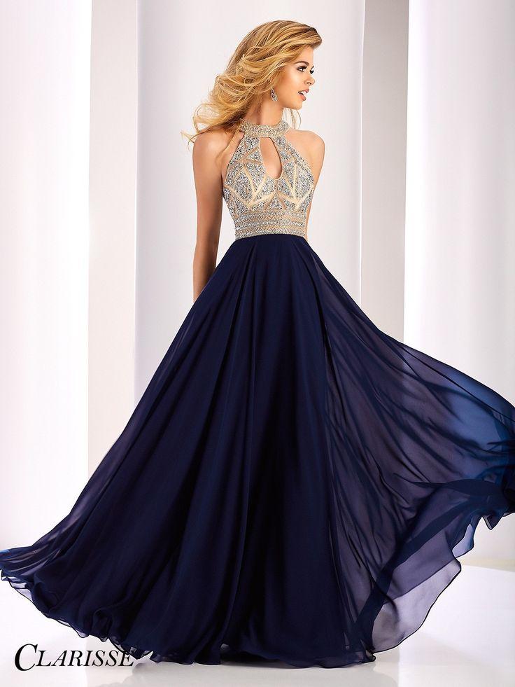Clarisse Prom 3087 Navy High Neckline Open Back Chiffon Prom Dress