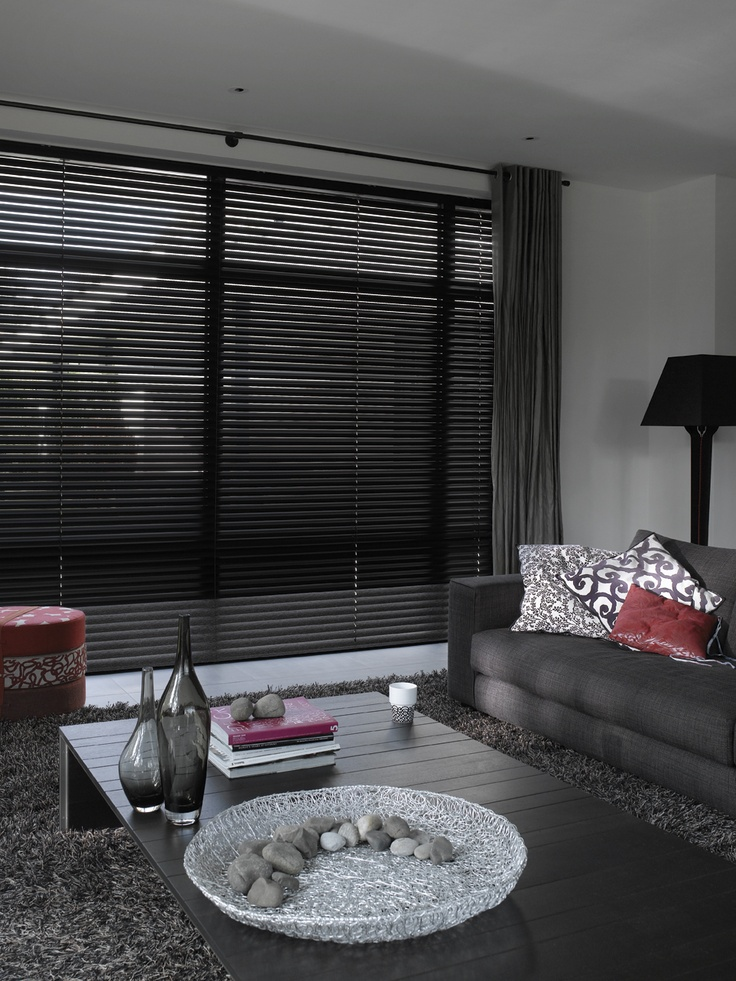Black Venetian Blinds.  Very stylish and contemporary