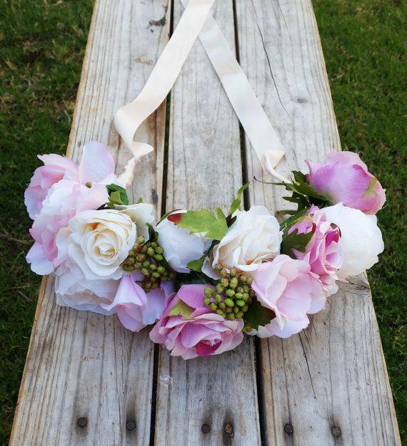 BLUSH PINK & IVORY Flower Crown Wedding by AdelaideFlowerMill