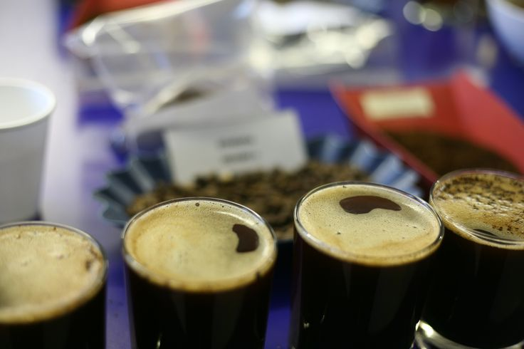 Coffee in a glass, ready for cupping