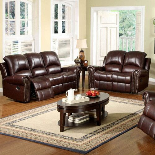 Chaise Sofa Darby Home Co Barnsdale Reclining Italian Leather Sofa and Loveseat Set in Two Tone Burgundy
