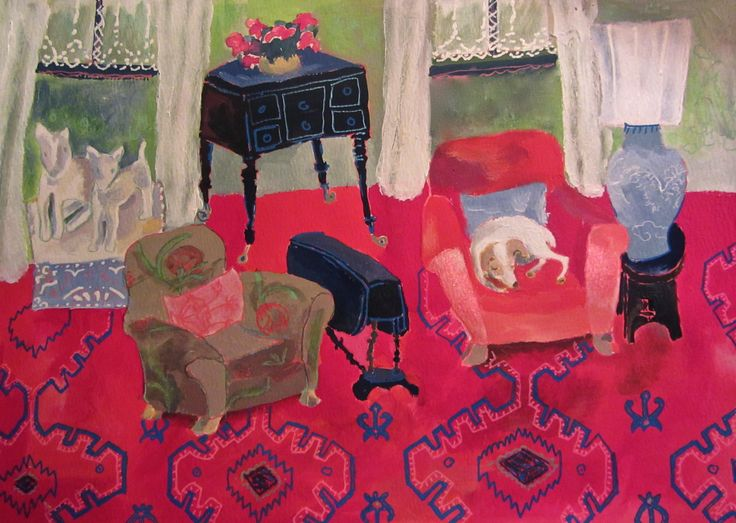Figgie in the red chair, Gouache & Acrylic on card, Helen Mudge, Keurboomstrand, South Africa