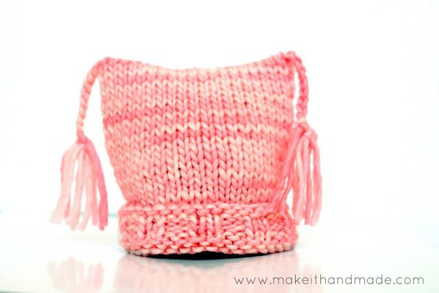 The easiest knit hat ever! The Pixie Hat (Free Pattern by Make It Handmade) can be made with just the knit stitch-- no increases, decreases ...