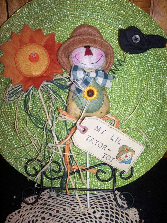Primitive Whimsical Country Fall SCARECROW SUNFLOWER Plant