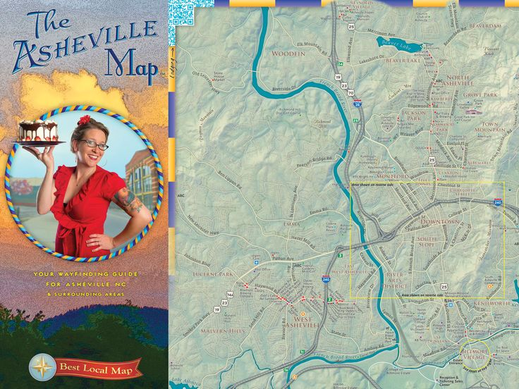 Cartographic Arts: Beautiful Maps From the Atlas of Design | This map depicts essential sights in Asheville, NC, including its many excellent breweries. QR codes embedded in the corners link the paper map to updated info online, making it a digital-paper hybrid. Sales benefit a local food bank.   Bruce Daniel and Nora Daniel, for Best Local Map  | WIRED.com