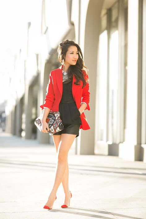 Valentine's Day Outfit Idea: Red Blazer, Black Playsuit, Red Courts & Layered Statement Necklaces | Wendy's Lookbook