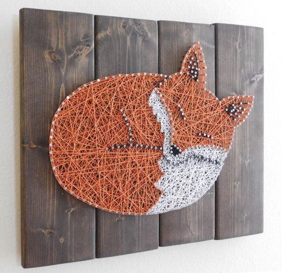 Sleeping Fox 14x11 by StringArtable on Etsy - perfect for a forest nursery theme