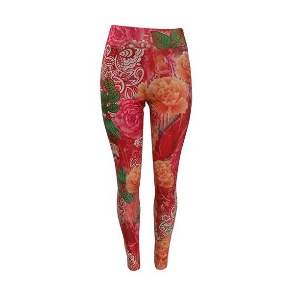 Rotita High Waist Flower Print Red Leggings ($23) ❤ liked on Polyvore featuring pants, leggings, red, red leggings, patterned leggings, floral leggings, high-rise leggings and high waisted pants