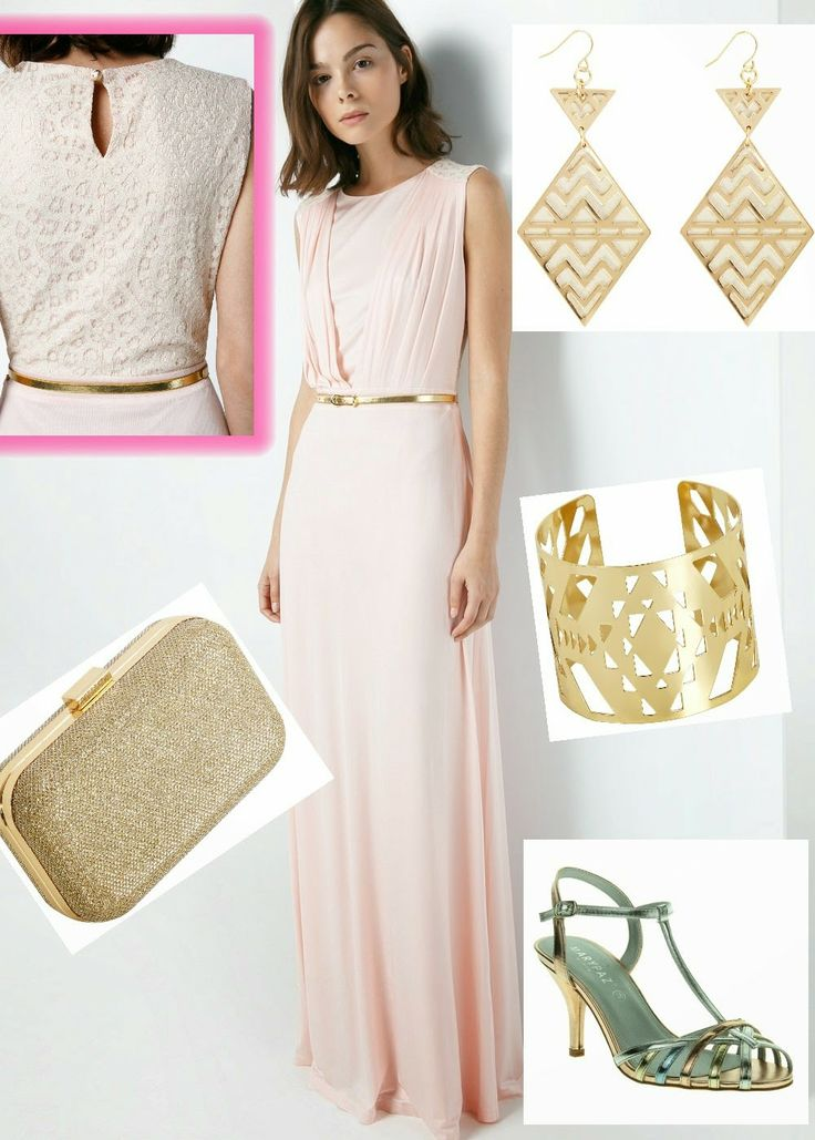 Look de invitada rosa palo y dorado metalizado.