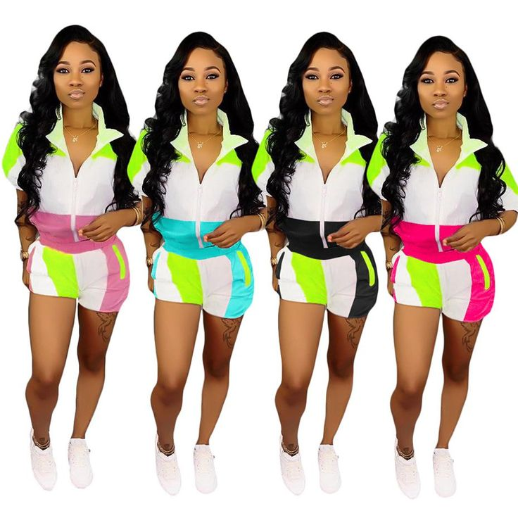 2019 HAOYUAN Plus Size Two Piece Set Summer Clothes For Women Matching Sets Neon Top And Biker Shorts Sweat Suit Casual Tracksuit From Beenlo, $23.44 | DHgate.Com   – Jazelle Gazelle Fitness