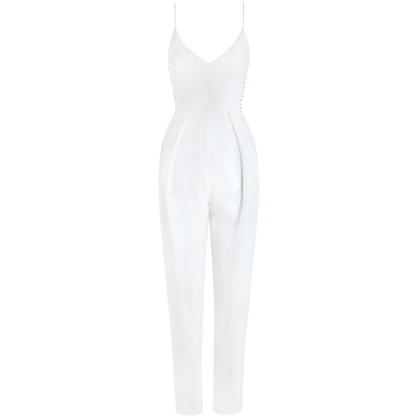 ZIMMERMANN Crepe Harness Jumpsuit (6.920 ARS) ❤ liked on Polyvore featuring jumpsuits, rompers, jump suit, white jumpsuit, crepe jumpsuit, zimmermann and white jump suit