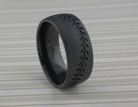 Black Zirconium Baseball Wedding Ring