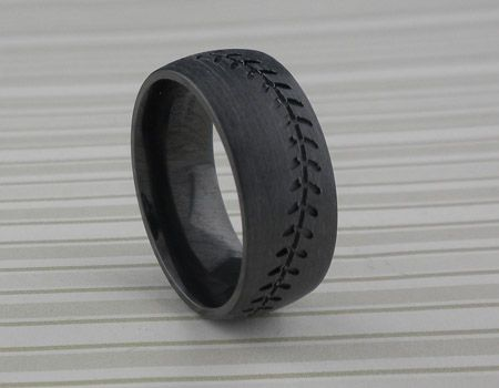 Black Zirconium Baseball Wedding Ring