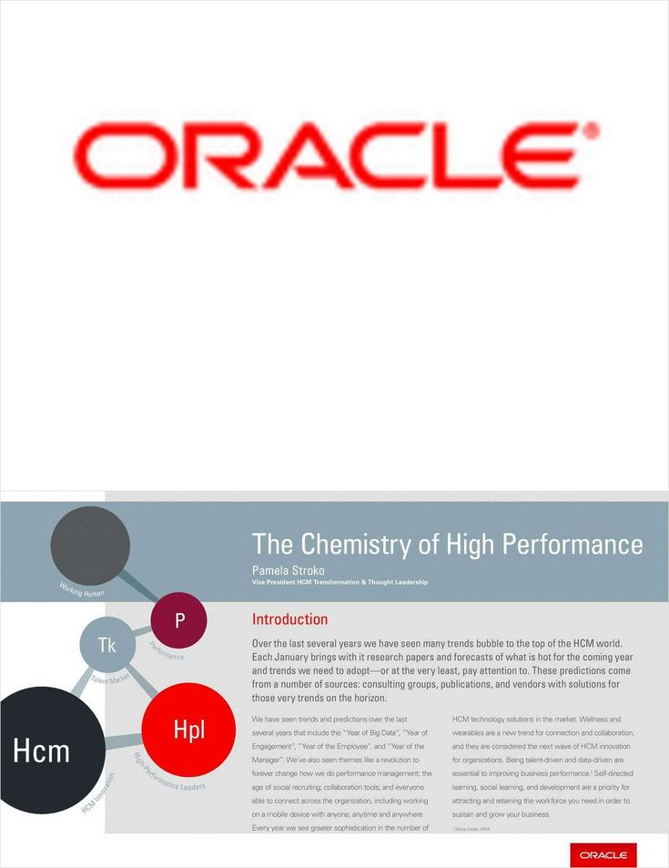 The Chemistry of High Performance - Chapter 1, Free Oracle Corporation eBook