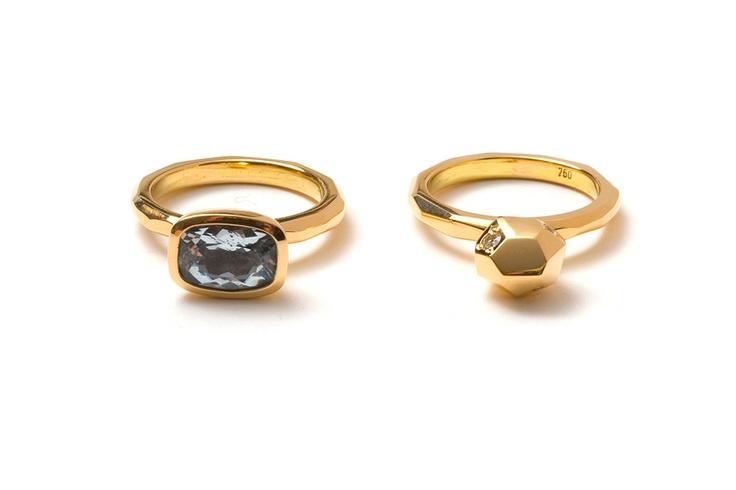 Krista McRae, Left) Facet Ring:18ct yellow gold, bezel set aquamarine  (Right)…