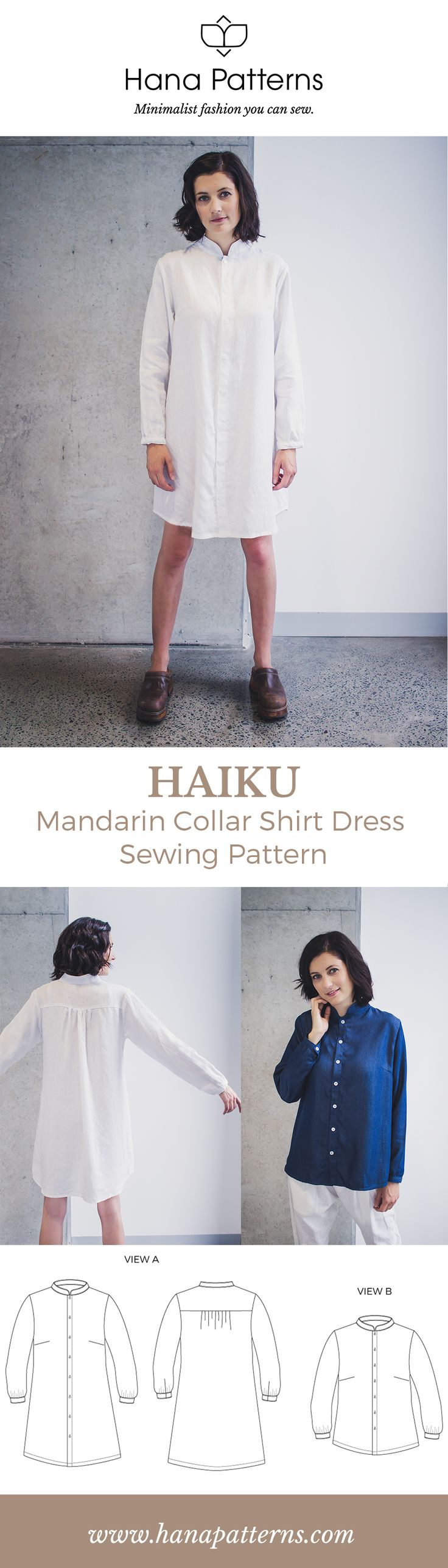 PDF Sewing Patterns for Women   HAIKU Mandarin Collar Shirt Dress   Add a touch of modern Asian style to your handmade wardrobe. Make it in linen for understated elegance and choose chambray for casual chic. Find out more at www.hanapatterns.com