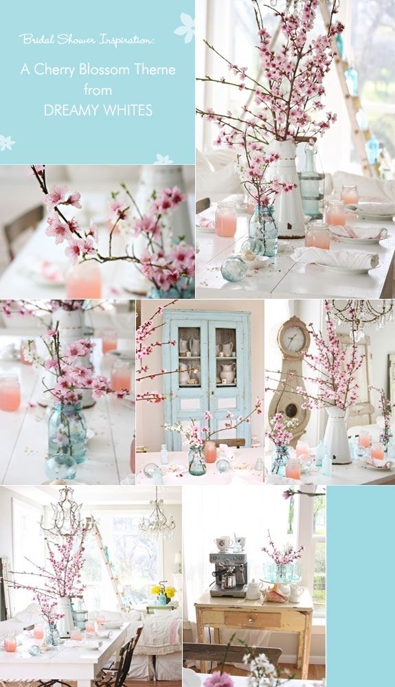 Cherry blossom table decorations for bridal shower tea party. Table styling by Dreamy Whites.