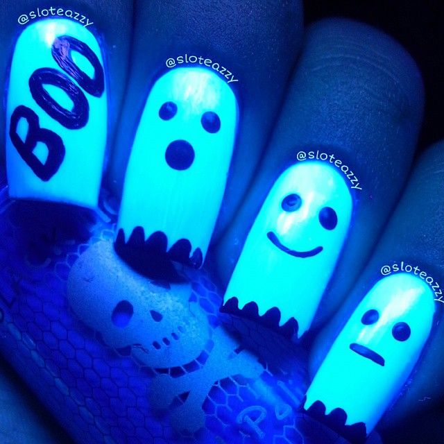 Amazingly BOO-tiful glow in the dark (black light) Halloween nails by sloteazzy @ Instagram