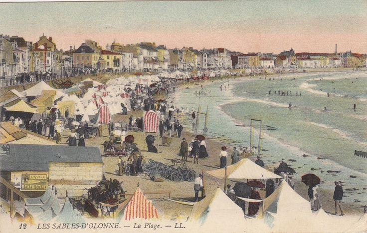 La plage des sables d'Olonne au début du 20 ème siècle et aujourd'hui