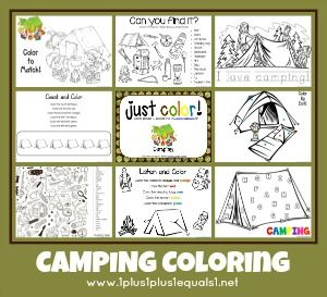 camping theme coloring printables from www1plus1plus1equals1net