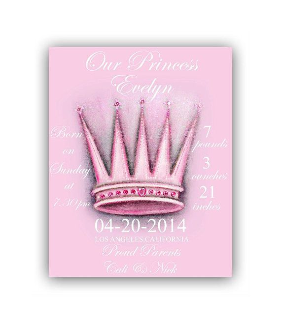Baby Girl Princess Birth announcement, Birth Stats Art Print, Pink Crown, Princess Nursery, Kids Nursery Wall Art, Princess Baby Nursery Art...