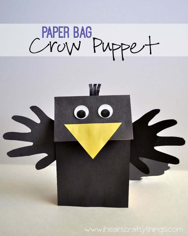 Make a Crow Puppet out of a Paper Bag lunch sack! Fun Fall Kids Craft from I Heart Crafty Things.