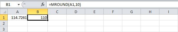 Use the Mround Function in Excel to round to the nearest multiple of 10