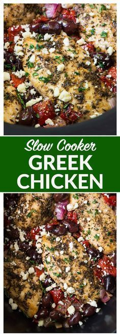 Slow Cooker Greek Chicken – moist, juicy chicken with a bright Mediterranean flavors, roasted red peppers, and feta. Easy, healthy, and absolutely delicious crockpot recipe!