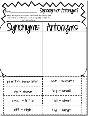 FREE synonym-antonym word work worksheet.