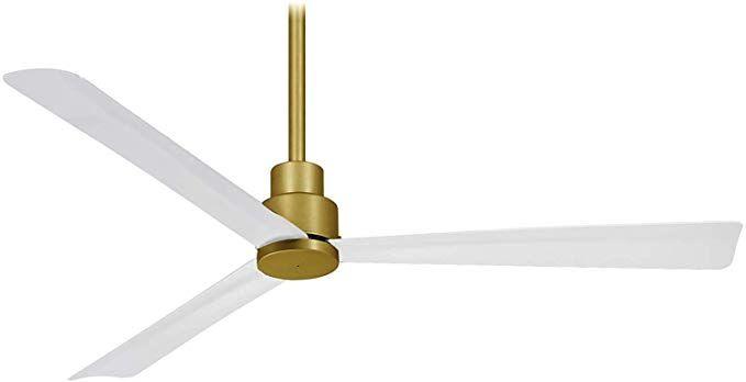 Minka Aire F787 Sbr Whf Simple 52 Inch Protruding Mount Ceiling Fan In Soft Brass With Flat White Blades Rem In 2020 Ceiling Fan Brass Ceiling Fan Simple Ceiling Fan