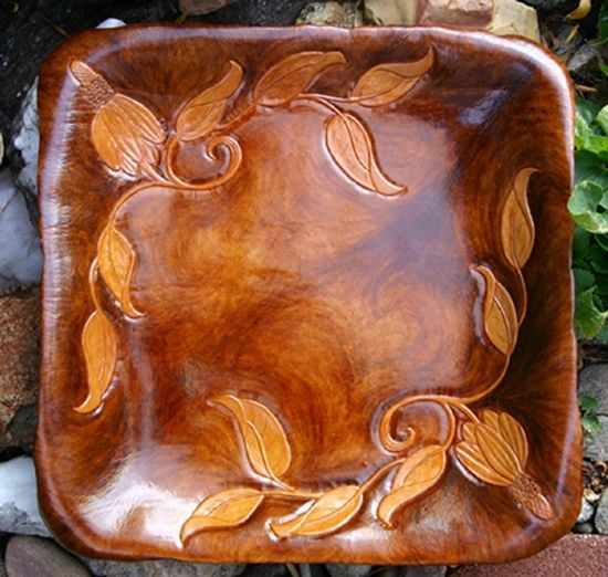 """Mexican Hat"" Carved and Sculpted Leather Tray with gold leaf flecks scattered on the back -  by Deborah & Russell Shamah ~ 13.5"" x 13.5"""