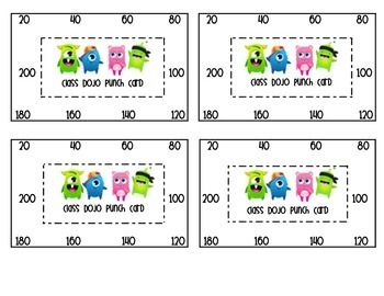 Class Dojo is amazing!! I print these and give them to my students. In my class students get to pick a reward coupon when they hit increments of 20. This punch card helps my students and I keep track of coupons and makes sure no one is taking advantage of their point status!