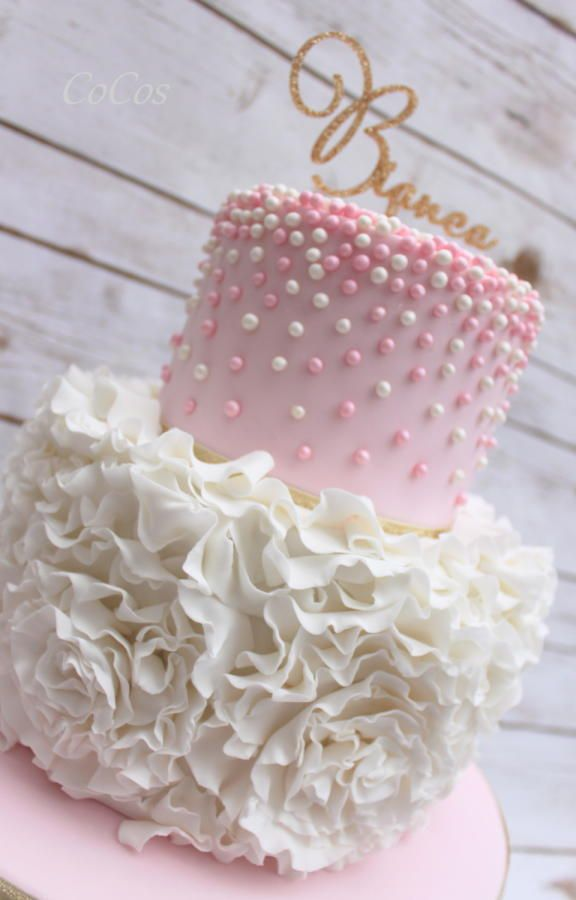 pink and white pearl rose ruffle cake  by Lynette Brandl