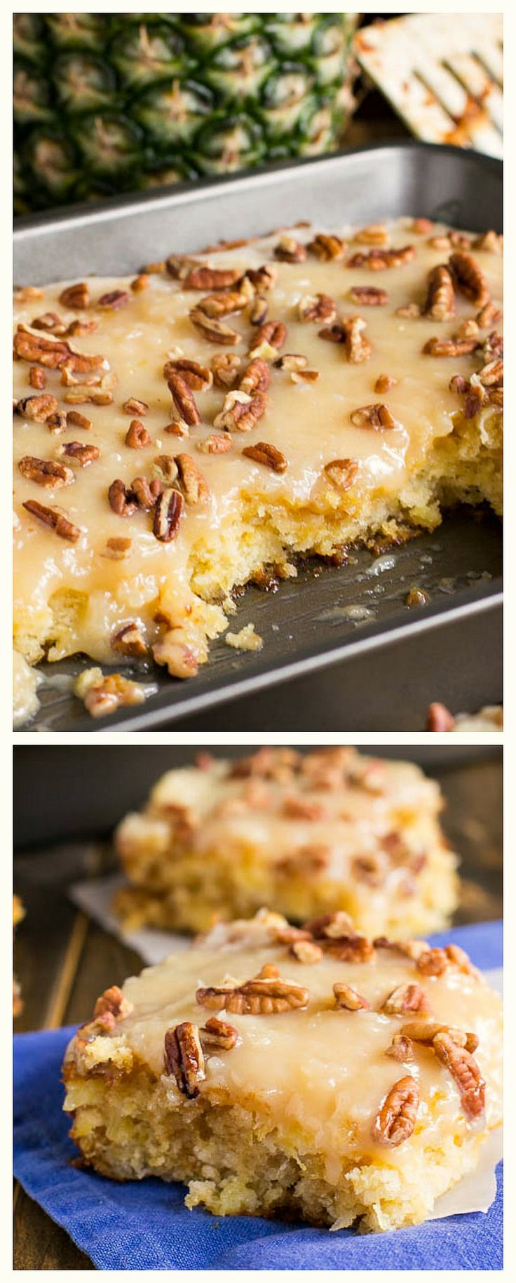 Pineapple Sheet Cake- super moist and covered with a coconut-laced icing. Of course minus the nuts.